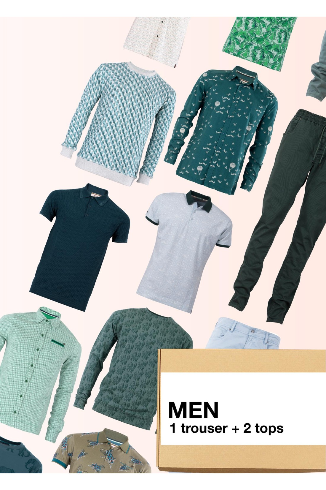 Surprise Box Men - 3 Styles - Trousers Long + 2 Tops