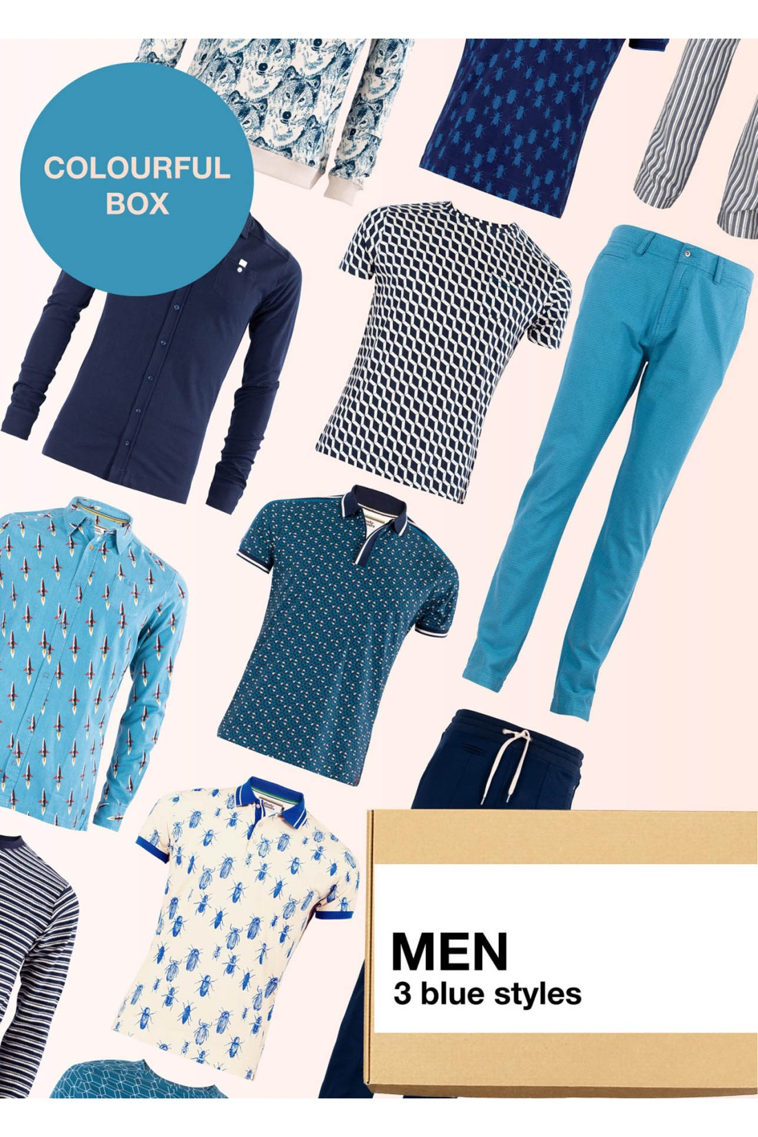Surprise Box Men - Blue Box 3 Styles With Blue In It