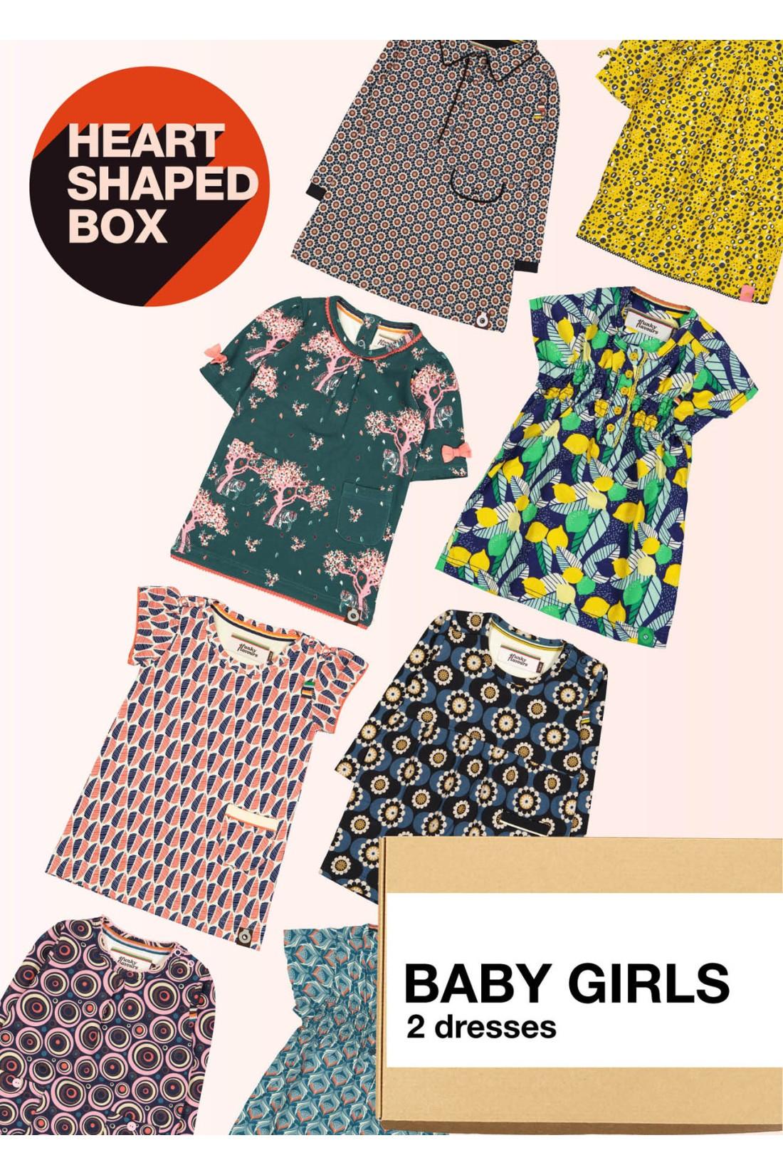 Surprise Box Baby Girl - HEART SHAPED BOX - 2x Baby Dress