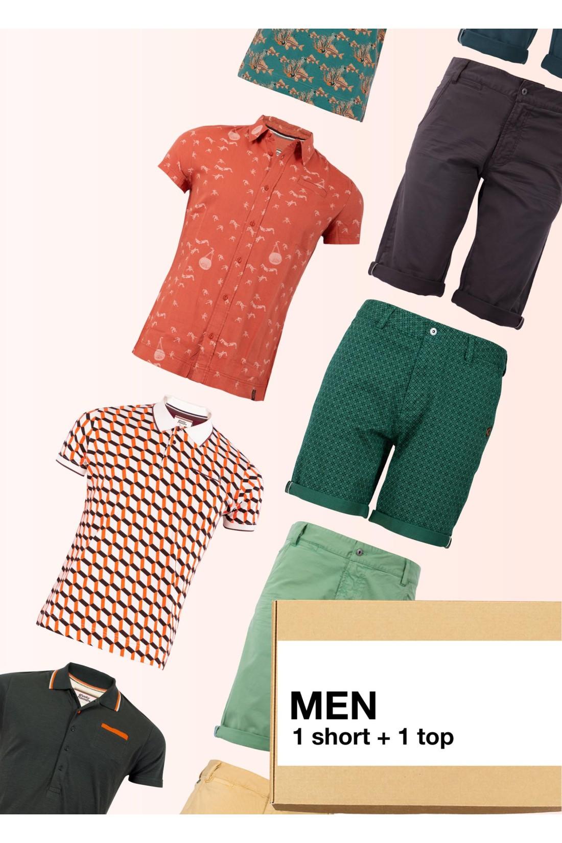 Surprise Box Men - 2 Styles - Trousers Short + 1 Top Short Sleeve