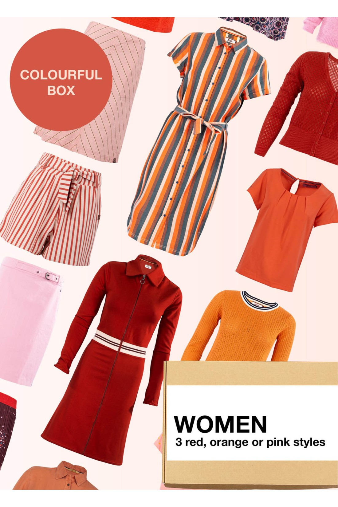 Surprise Box Women - Red Orange Box 3 Styles With Red Or Orange Or Pink In It