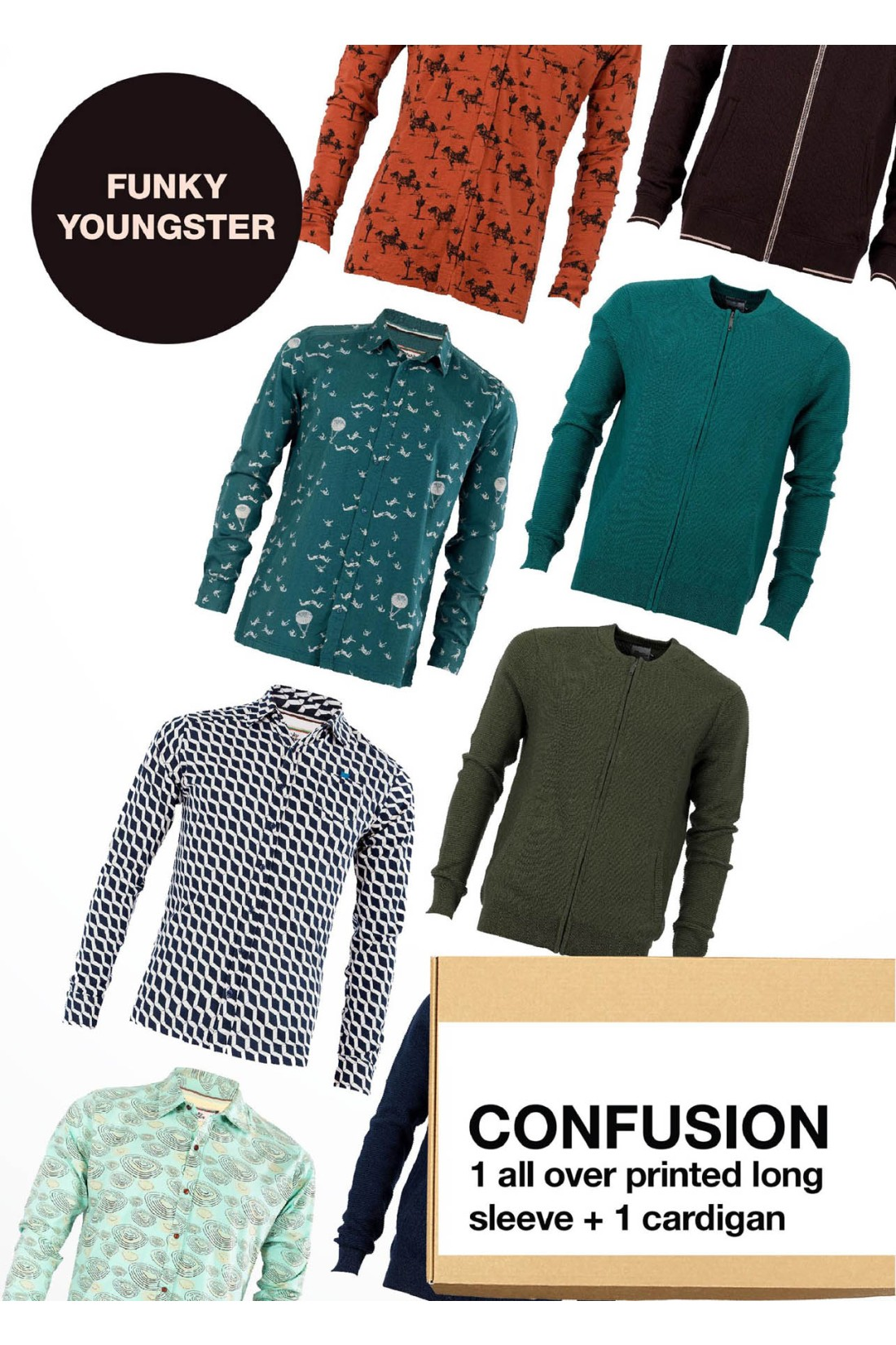 Surprise Box FUNKY YOUNGSTER - CONFUSION - 2 Styles XS-S - All Over Print Longsleeve + Cardigan