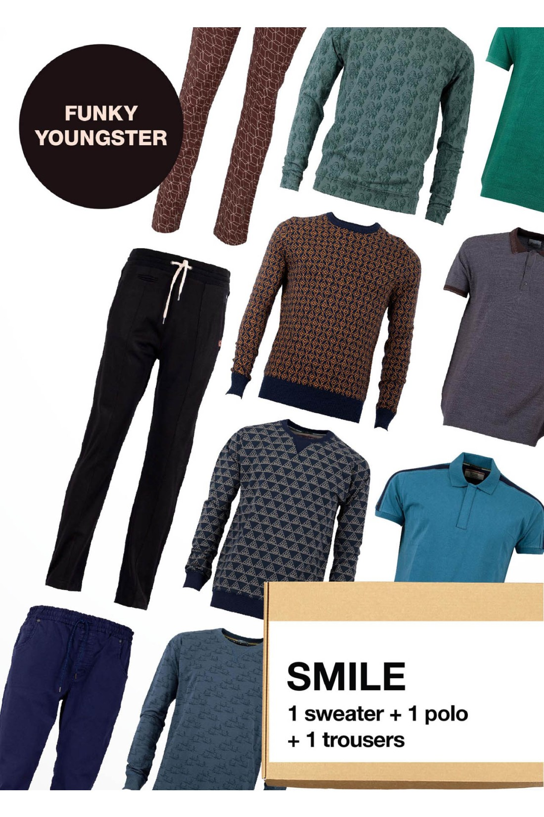Surprise Box FUNKY YOUNGSTER - SMILE - 3 Styles X-S - Sweater + Polo + Trousers