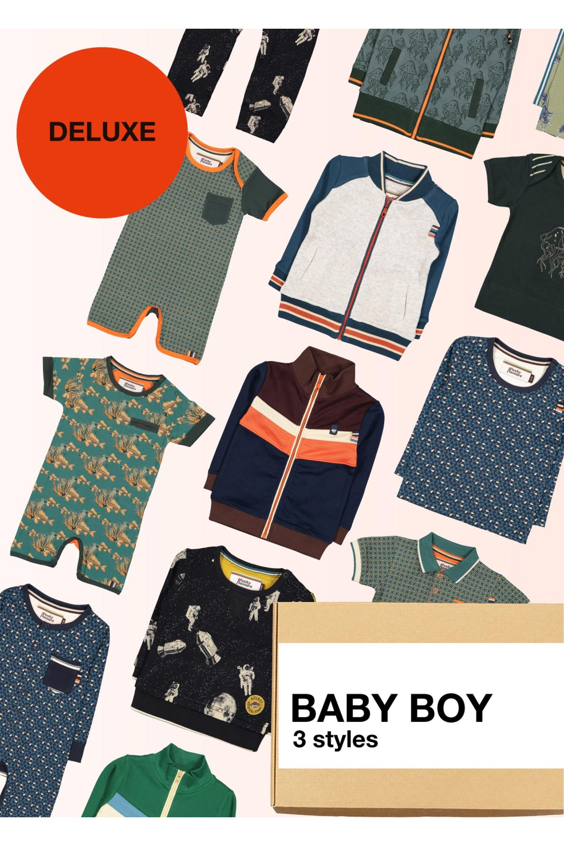 Surprise Box Baby Boys Deluxe - 3 Styles Sweater/jacket, Romper, Top Long Sleeve