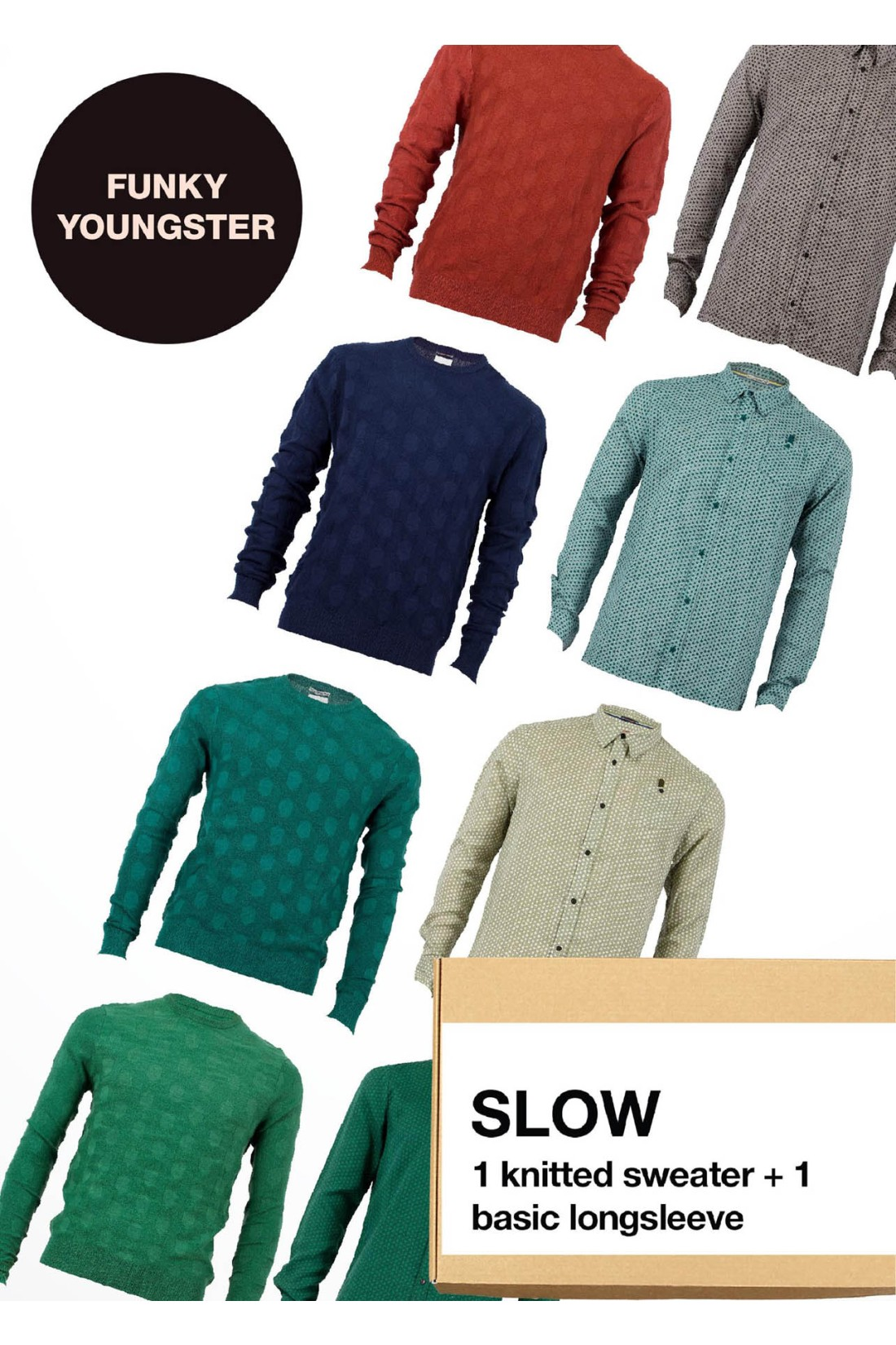 Surprise Box FUNKY YOUNGSTER - SLOW - 2 Styles XS-S - Knitted Sweater Basic + Longsleeve Shirt Basic