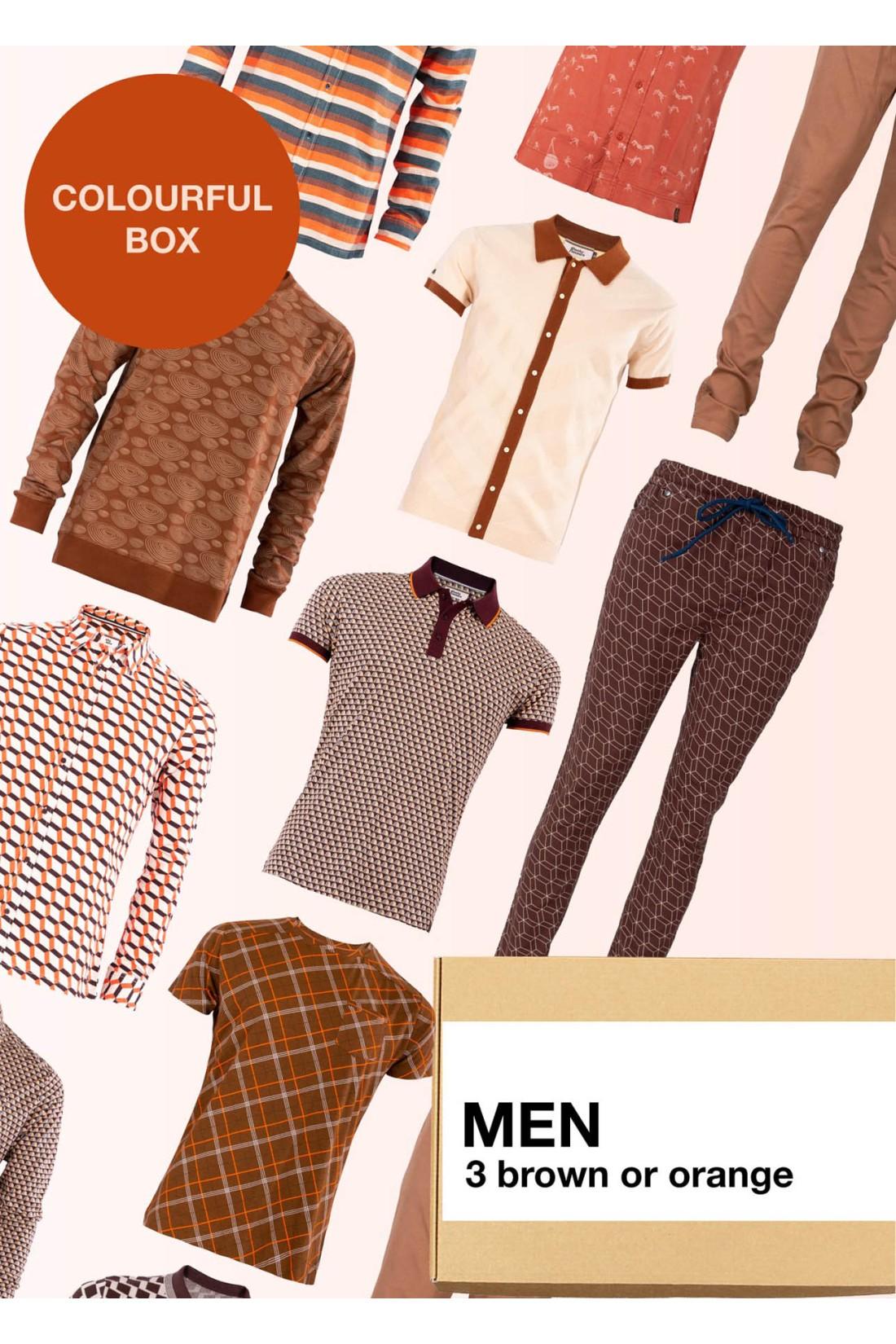 Surprise Box Men - Brown Orange Box 3 Styles With Brown Or Orange In It
