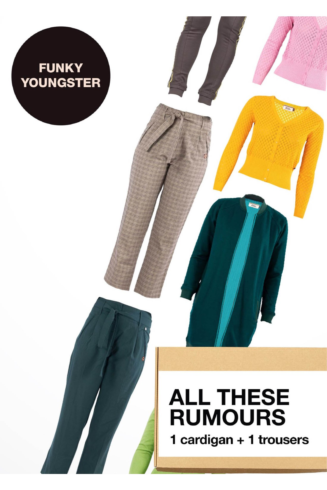 Surprise Box FUNKY YOUNGSTER - ALL THESE RUMOURS - 2 Styles XS-S - Cardigan + Trousers